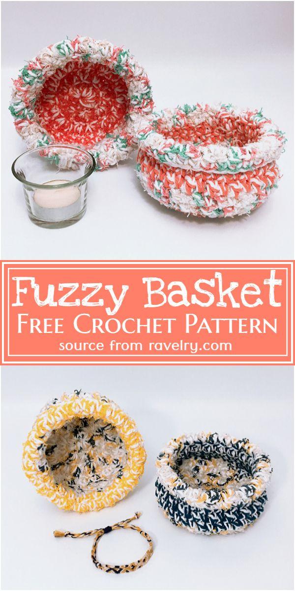 Free Crochet Fuzzy Basket Pattern
