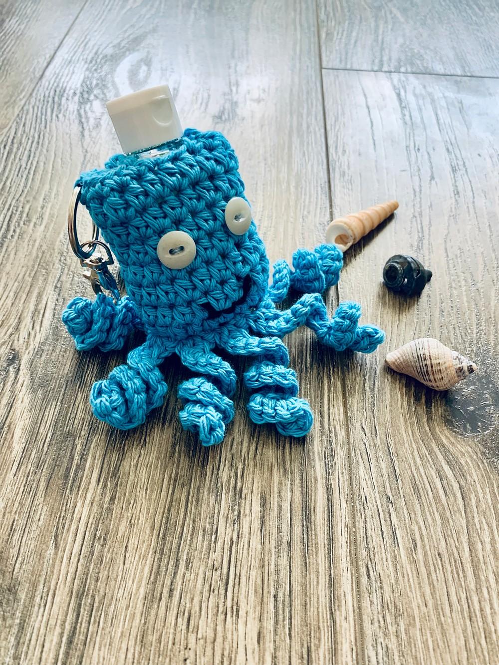 Free Crochet Handy Little Octopus Hand Sanitizer Keychain Cozy Pattern
