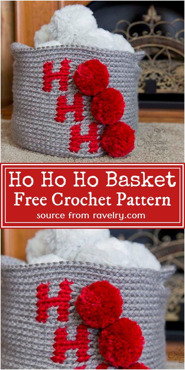 Free Crochet Ho Ho Ho Basket Pattern