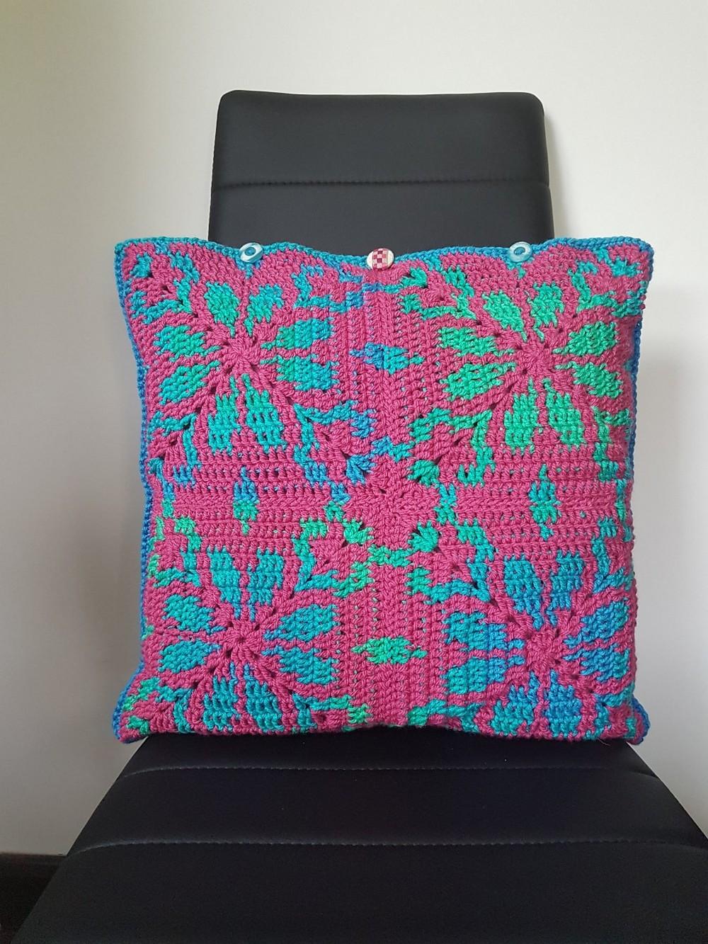 Free Crochet Jasmine & Rose Cushion Pattern