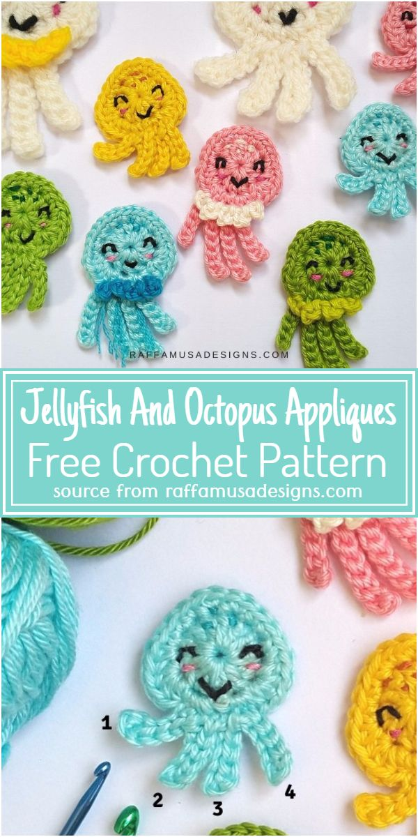 Free Crochet Jellyfish And Octopus Appliques Pattern