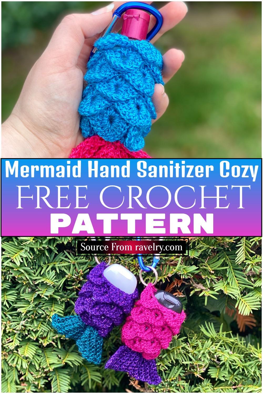 Free Crochet Mermaid Hand Sanitizer Cozy Pattern
