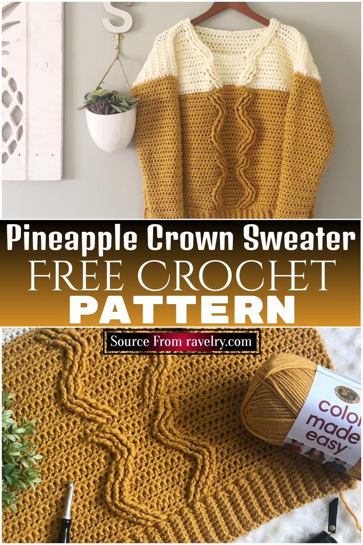 Free Crochet Pineapple Crown Sweater Pattern