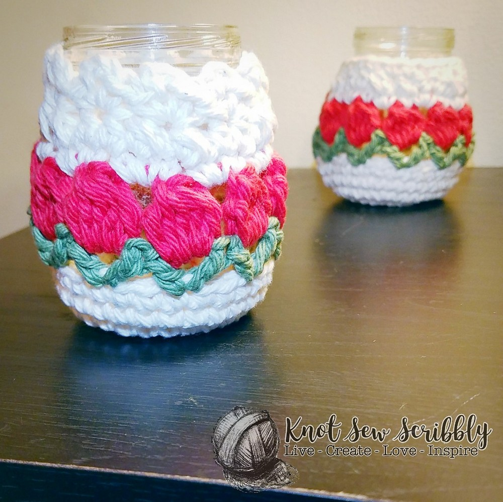 Free Crochet Row Of Tulips Candle Holder Cozy Pattern