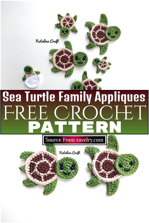 Free Crochet Sea Turtle Family Appliques Pattern