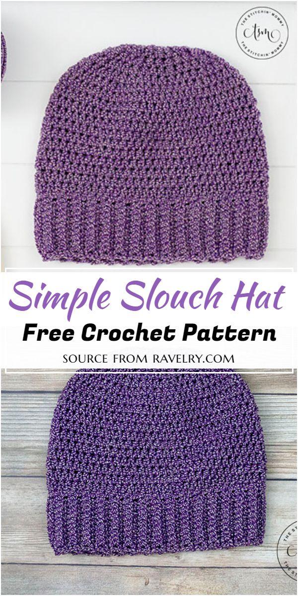 Free Crochet Simple Slouch Hat Pattern