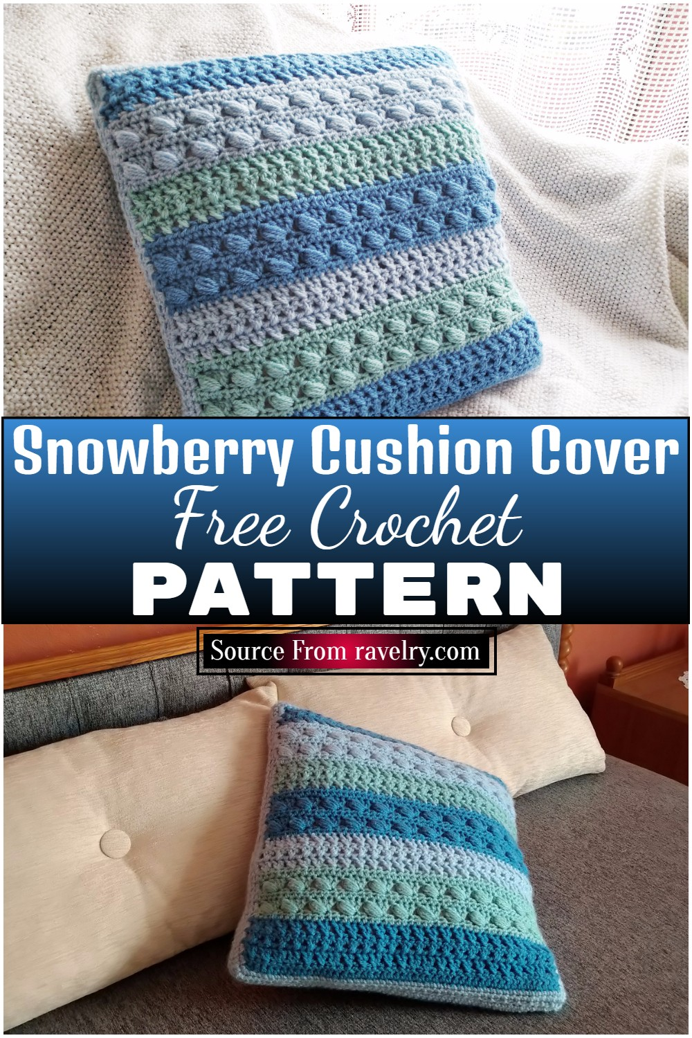 Free Crochet Snowberry Cushion Cover Pattern