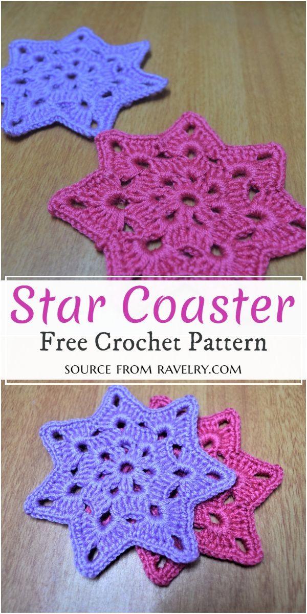 Free Crochet Star Coaster Pattern