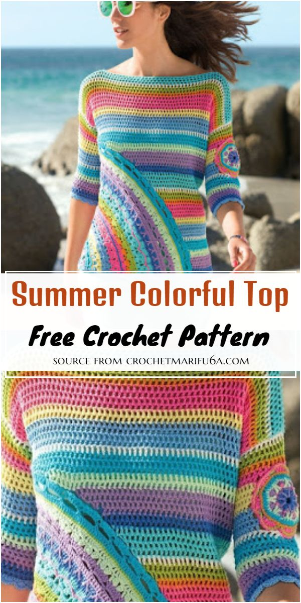 Free Crochet Summer Colorful Top Pattern