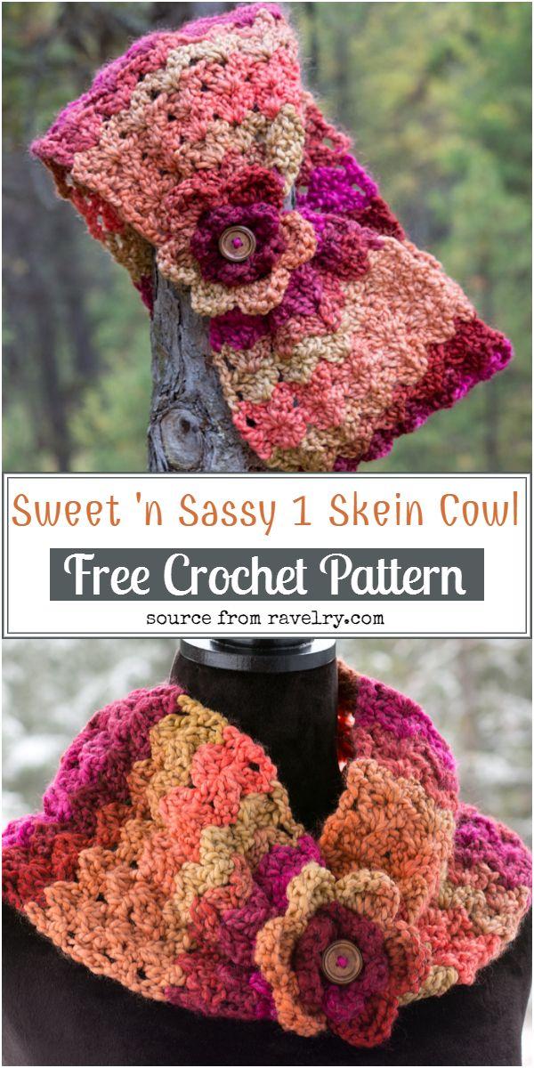 Free Crochet Sweet 'n Sassy 1 Skein Cowl Pattern