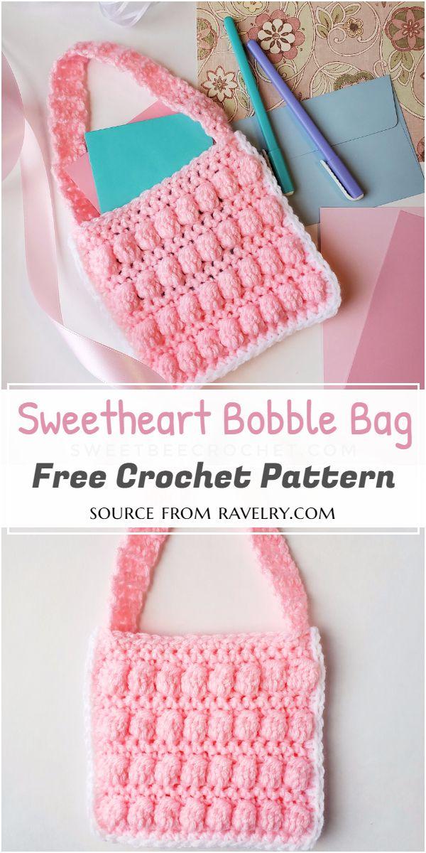 Free Crochet Sweetheart Bobble Bag Pattern
