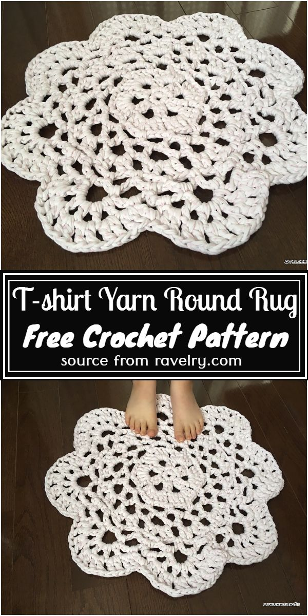 Free Crochet T-shirt Yarn Round Rug Pattern
