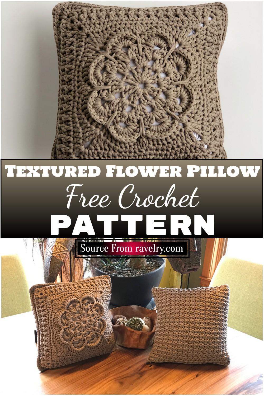 Free Crochet Textured Flower Pillow Pattern