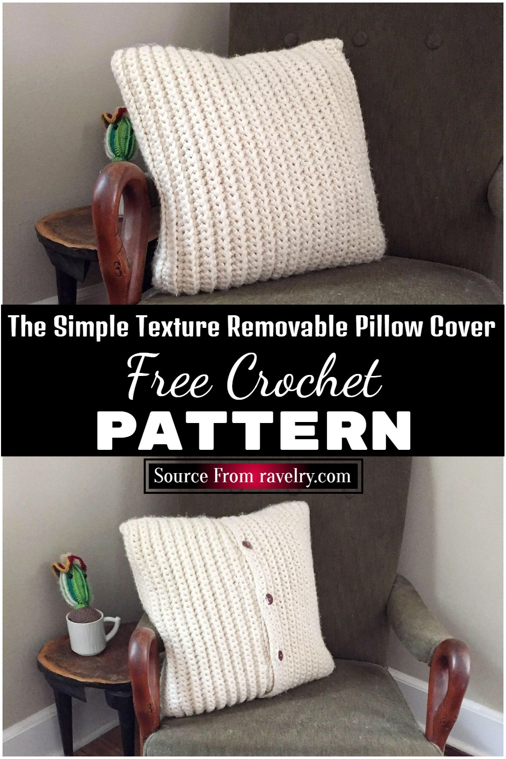 Free Crochet The Simple Texture Removable Pillow Cover Pattern