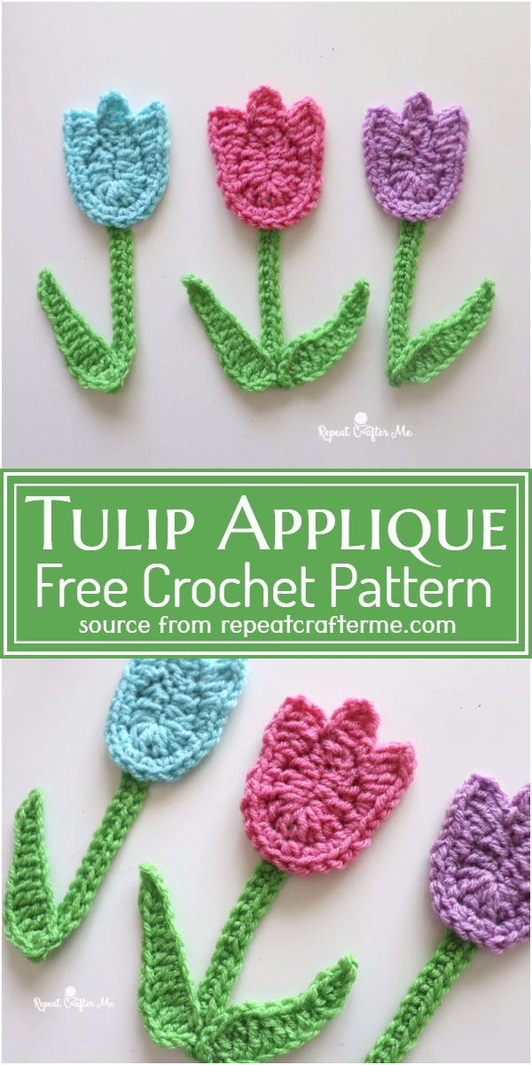 Free Crochet Tulip Applique Pattern