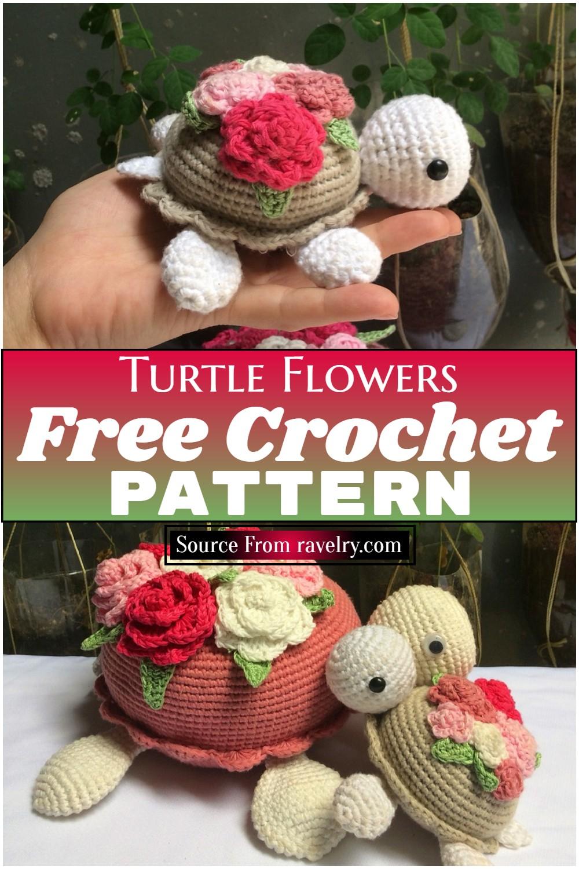 Free Crochet Turtle Flowers Pattern