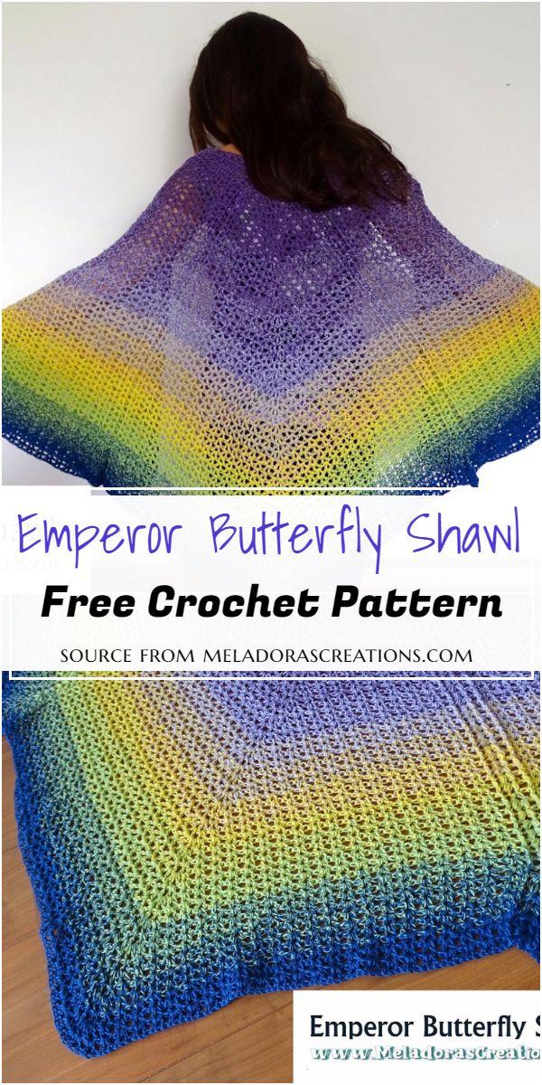 Free Emperor Crochet Butterfly Shawl Pattern