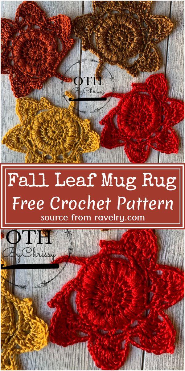 Fall Leaf Crochet Mug Rug Pattern