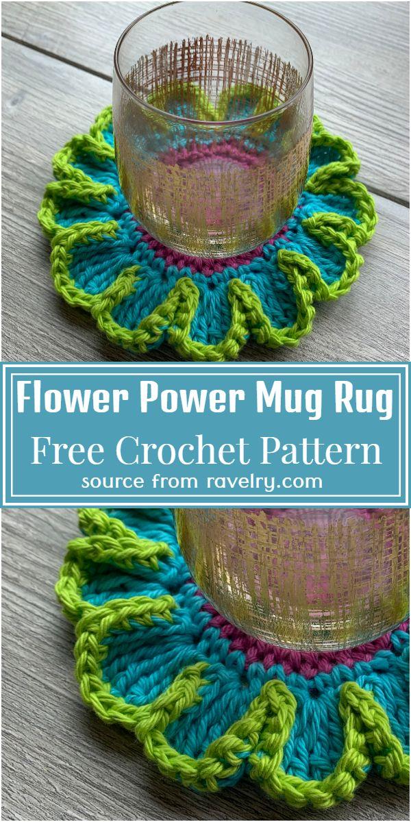 Free Flower Power Mug Rug Crochet Pattern
