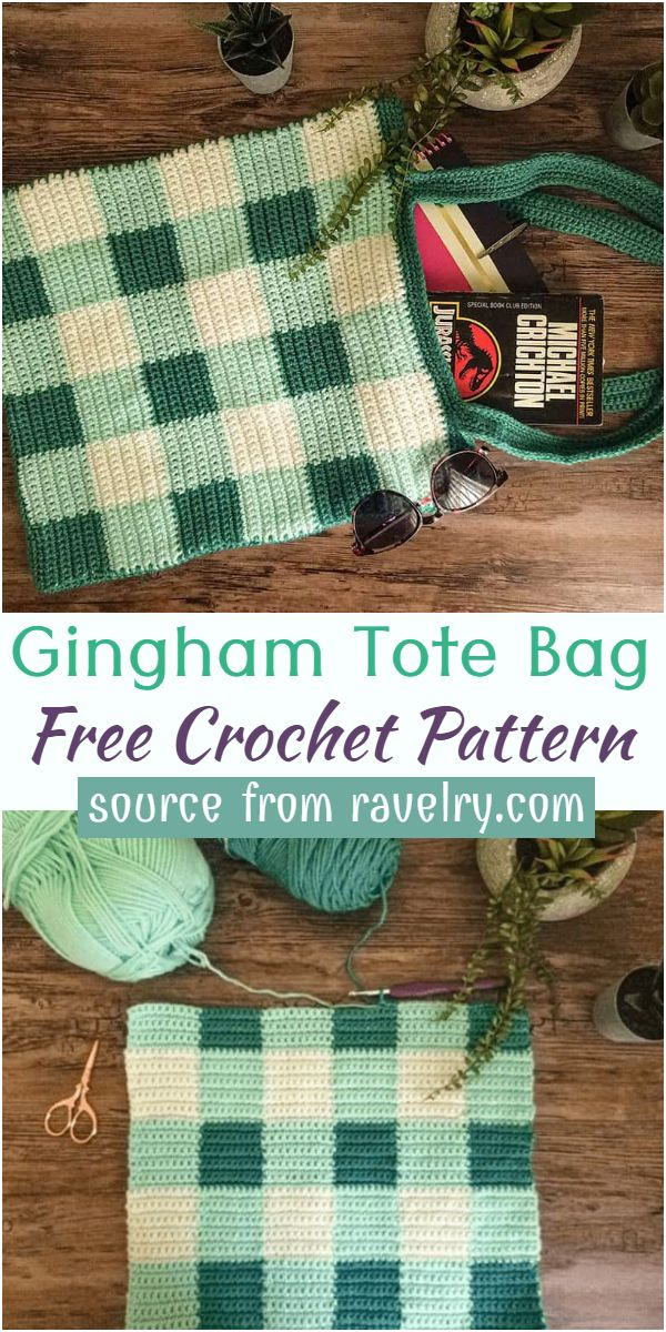 Free Gingham Crochet Tote Bag Pattern