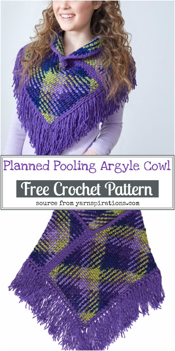 Free Planned Pooling Argyle Crochet Cowl Pattern