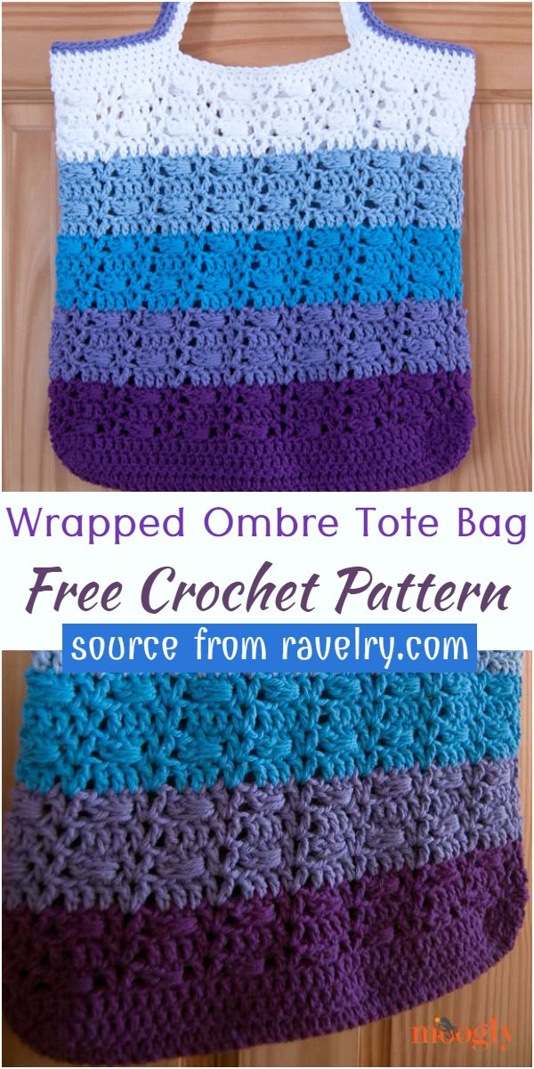 Free Wrapped Ombre Crochet Tote Bag Pattern