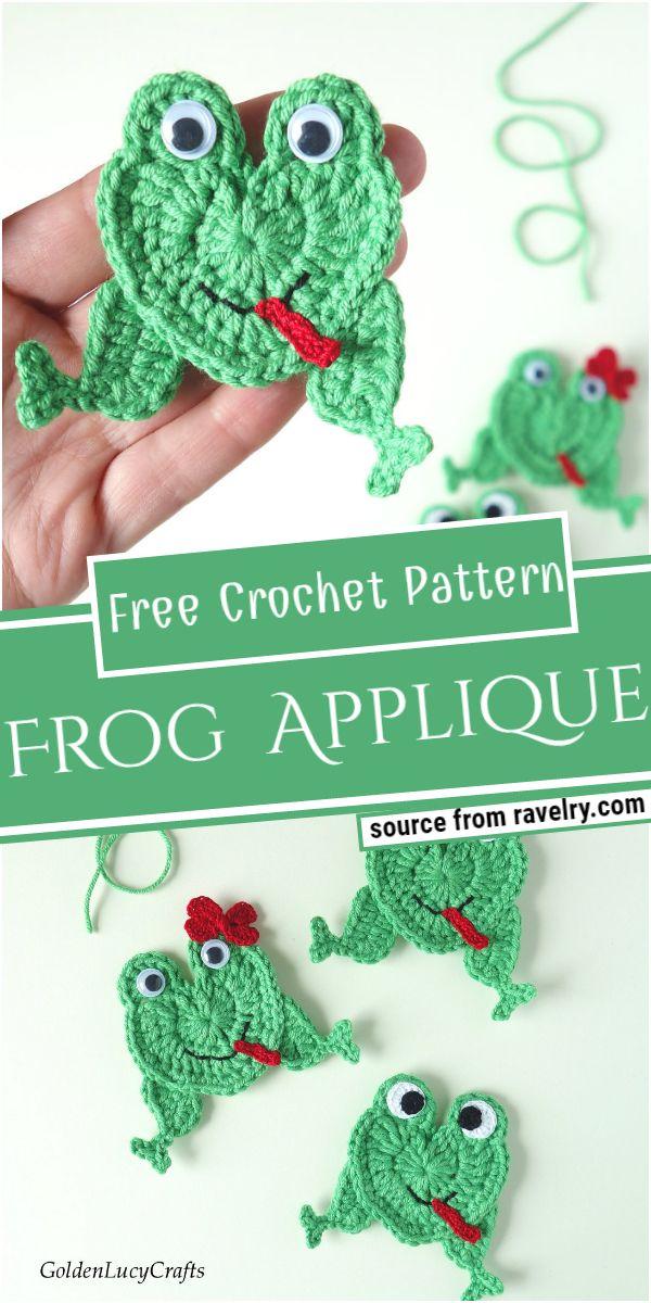 Frog Crochet Applique Free Pattern