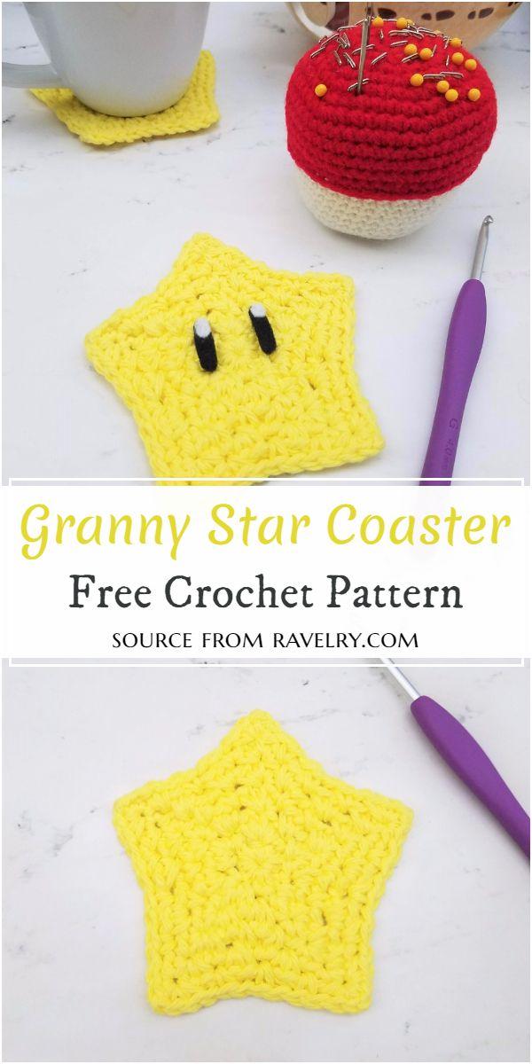 Granny Crochet Star Coaster Free Pattern