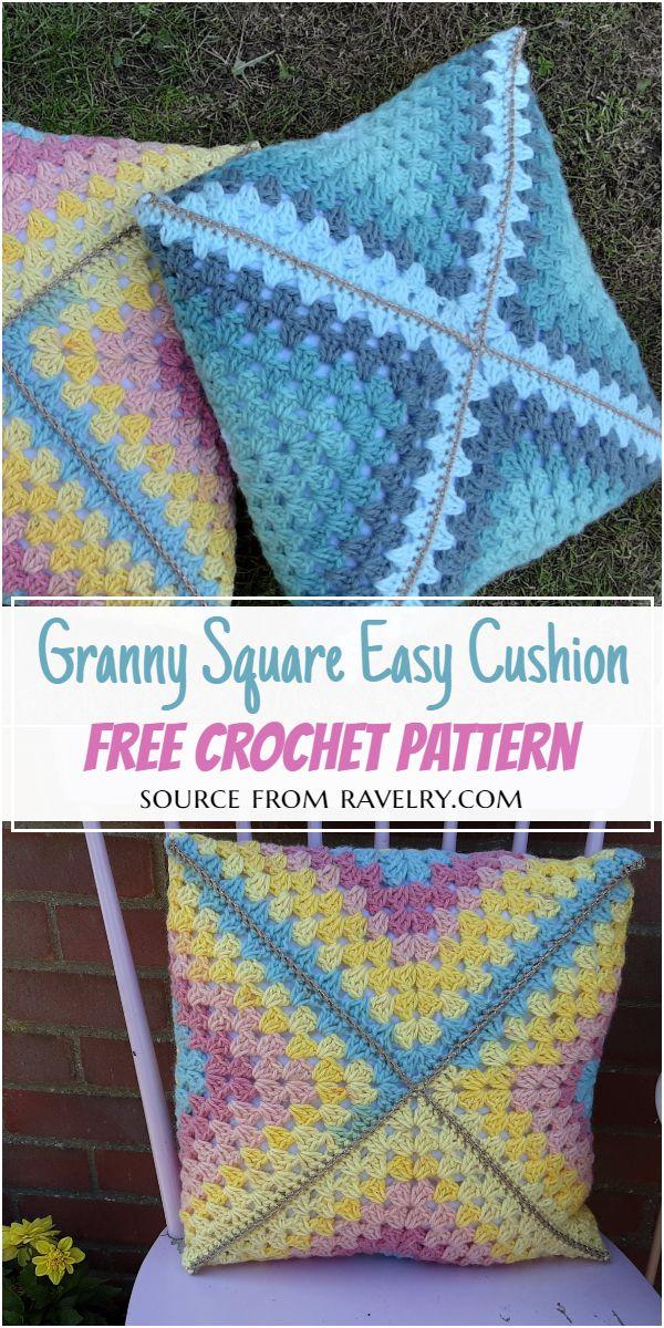 Granny Square Easy Crochet Cushion Pattern