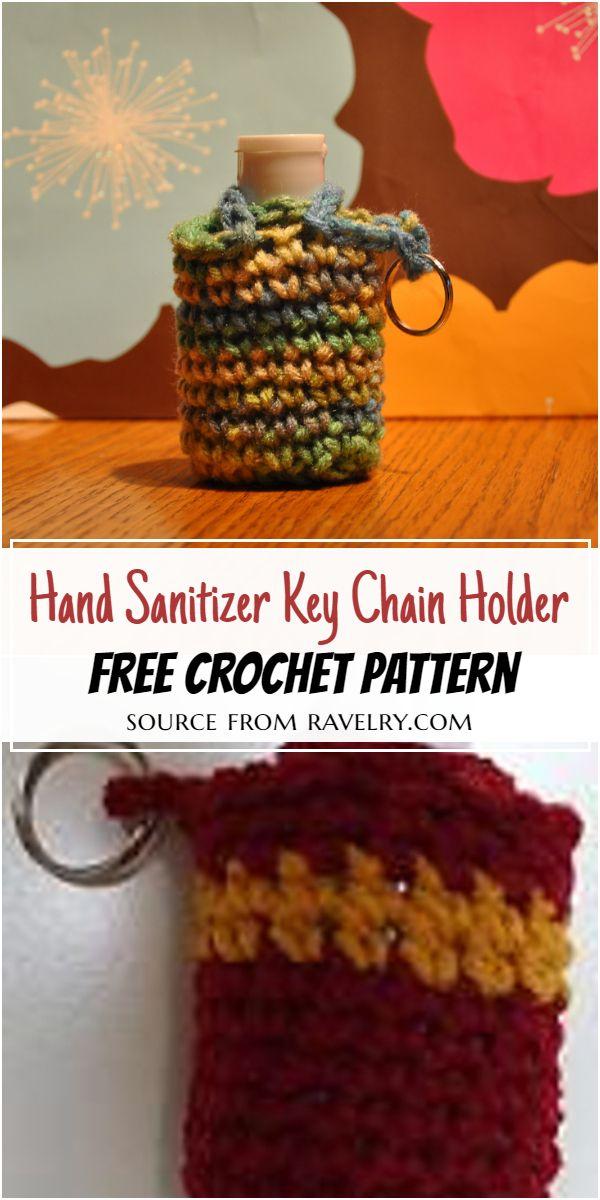 Hand Sanitizer Key Chain Holder Crochet Pattern