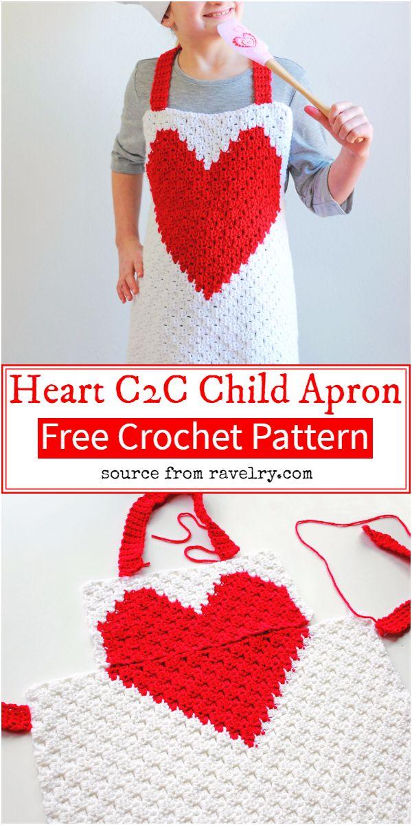 Heart C2C Crochet Child Apron Pattern