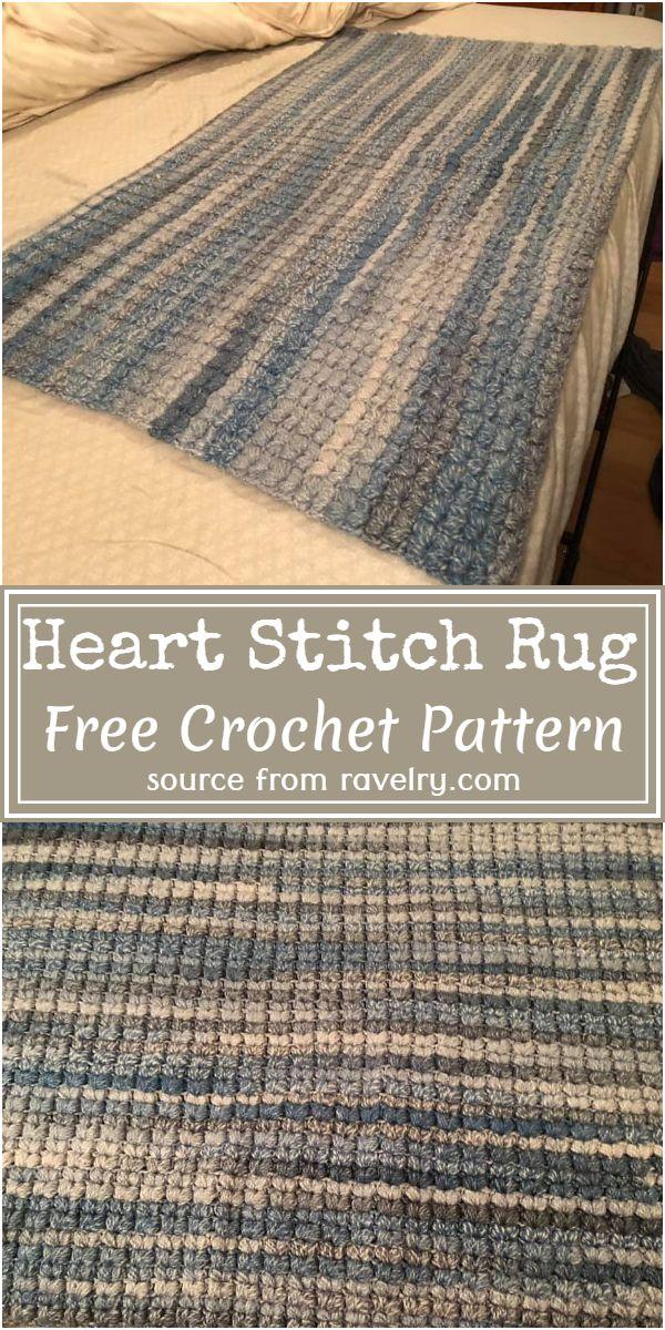Heart Stitch Crochet Rug Free Pattern