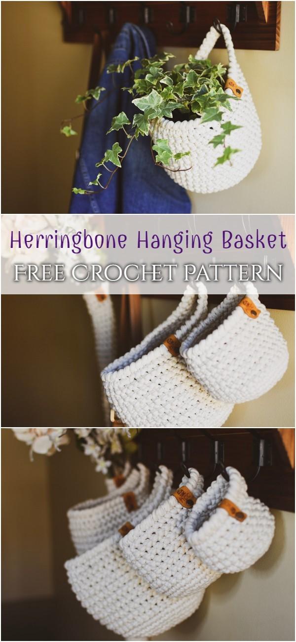 Herringbone Hanging Basket