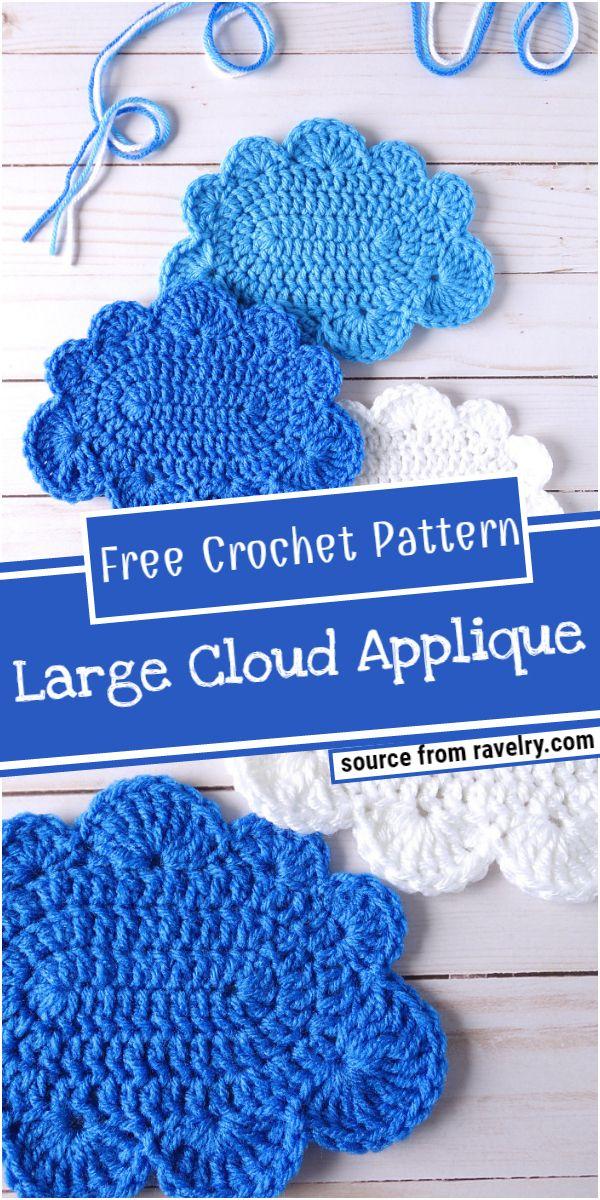 Large Cloud Crochet Applique Pattern
