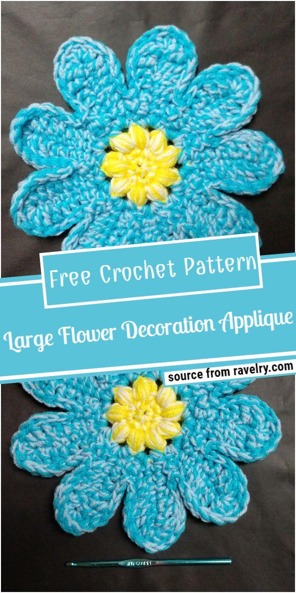 Large Flower Decoration Crochet Applique Pattern