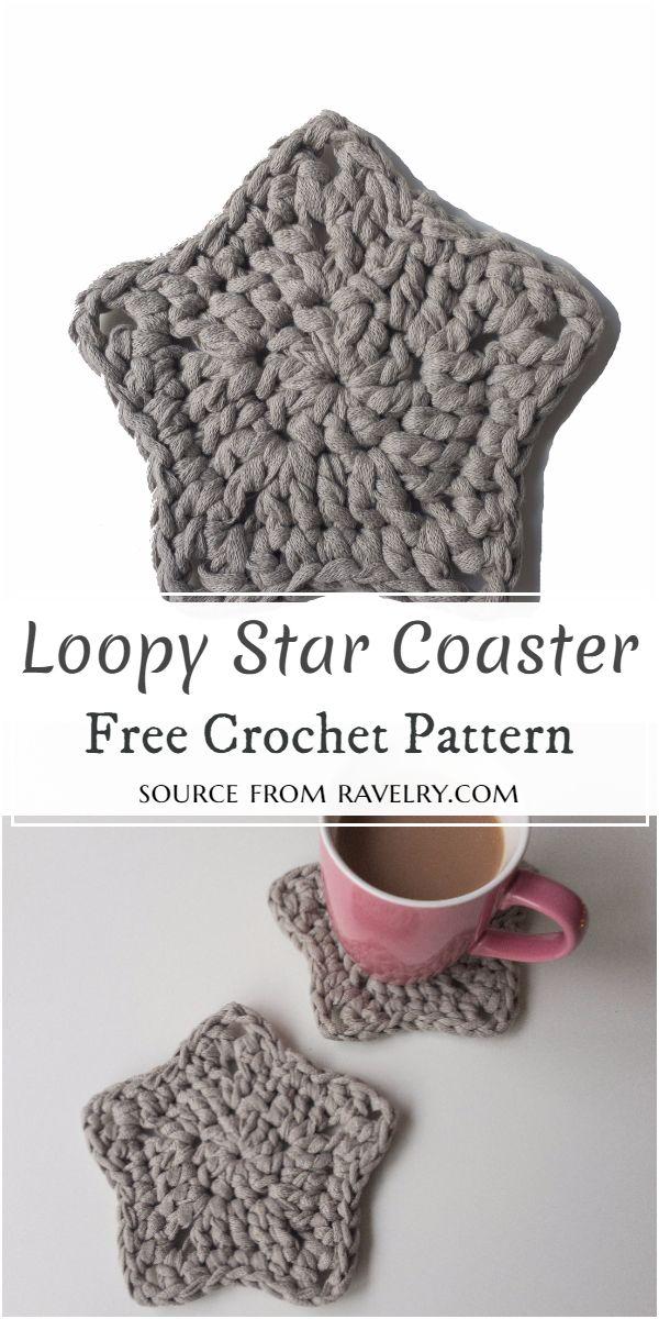 Loopy Star Coaster Crochet Pattern