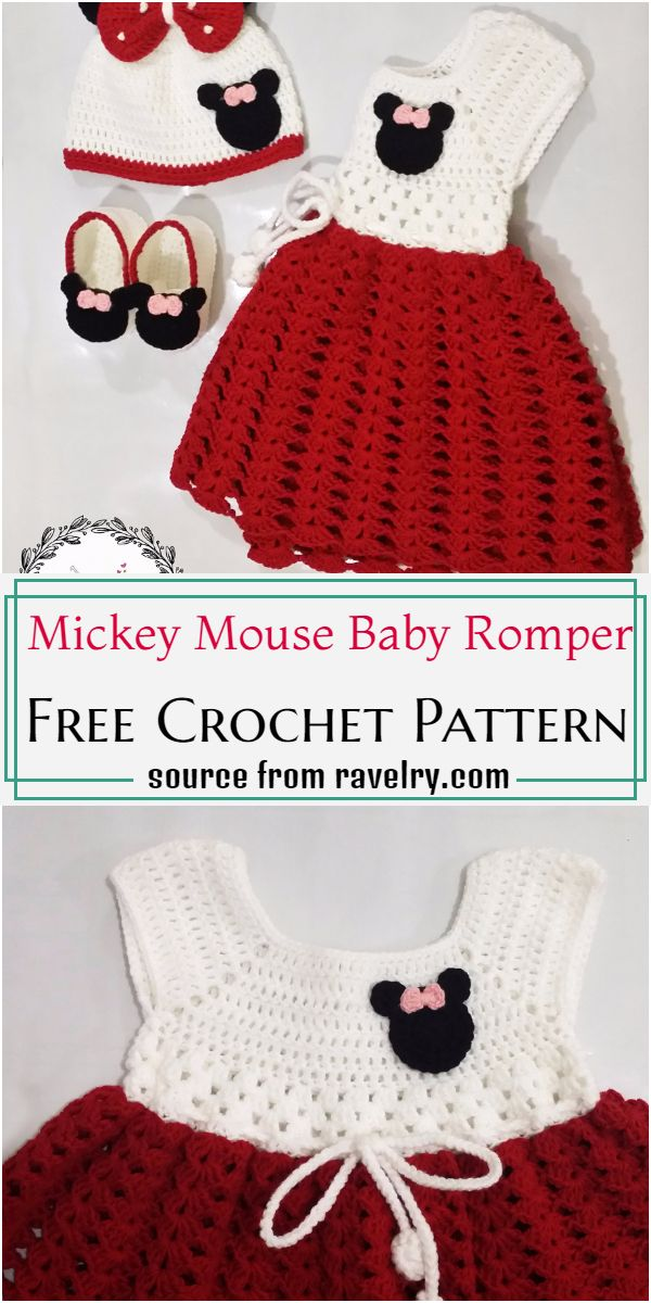 Mickey Mouse Baby Romper Crochet Pattern