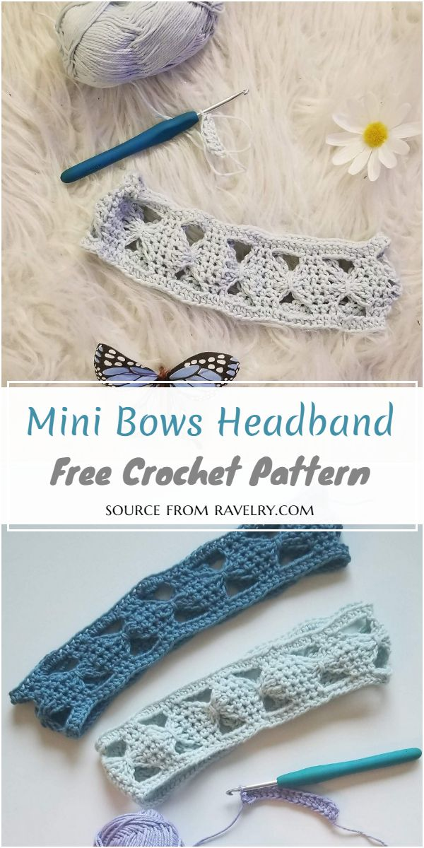 Mini Bows Crochet Headband Free Pattern