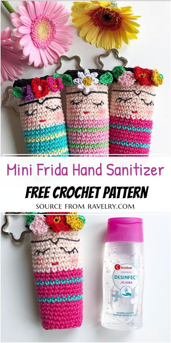 Mini Frida Crochet Hand Sanitizer Pattern