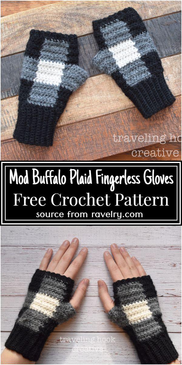 Mod Buffalo Plaid Crochet Fingerless Gloves Pattern