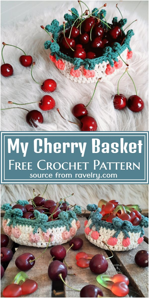 My Cherry Crochet Basket Pattern