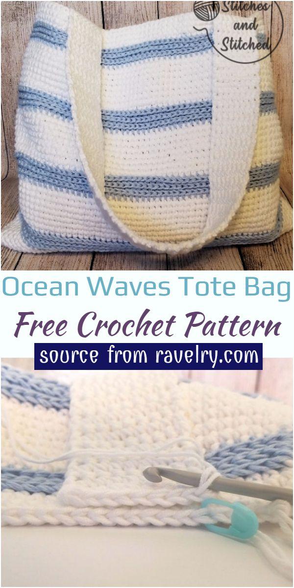 Ocean Waves Crochet Tote Bag Free Pattern