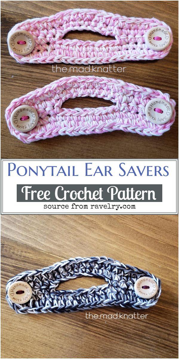Ponytail Crochet Ear Savers Free Pattern
