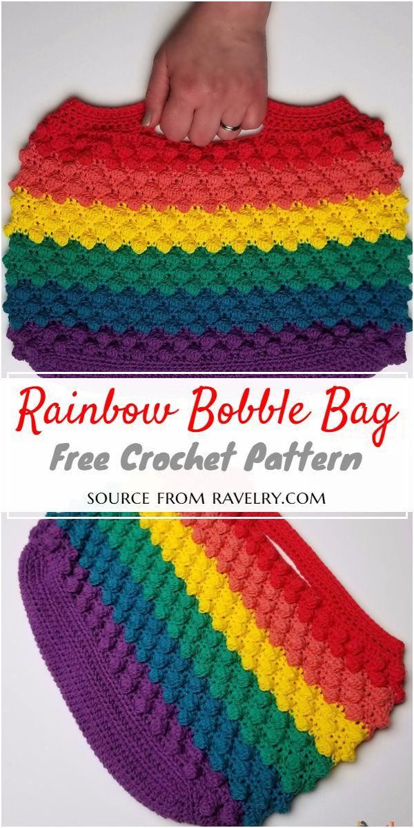 Rainbow Crochet Bobble Bag Pattern