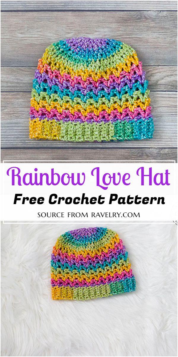 Rainbow Love Hat Crochet Pattern