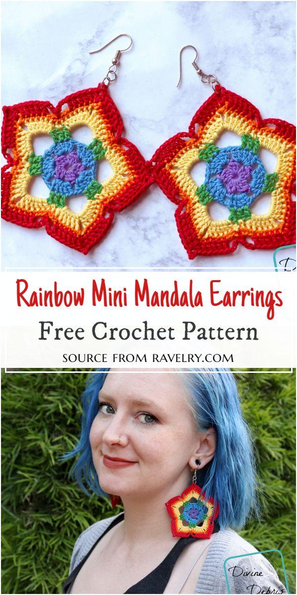 Rainbow Mini Crochet Mandala Earrings Pattern