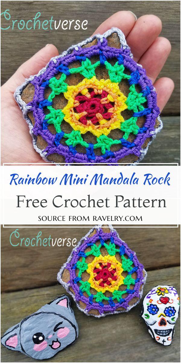 Rainbow Mini Mandala Rock Crochet Pattern