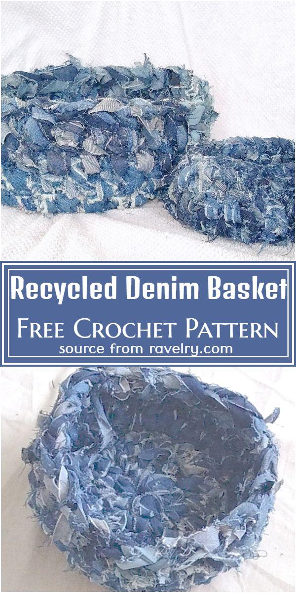 Recycled Denim Crochet Basket Pattern