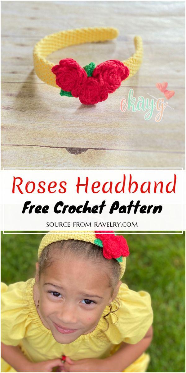 Roses Crochet Headband Pattern