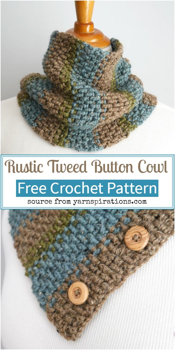 Rustic Tweed Button Cowl Crochet Pattern